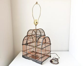 Vintage Bird Cage, Bird Cage Lamp, Bird Cage Table Lamp, Bamboo Bird Cage, Vintage Bird Cage Lamp