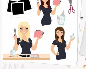 Scrapbooking woman character clipart, crafter girl, memories crafts, custom logo, digital clip art, blonde, brunette and auburn (Zara L159)
