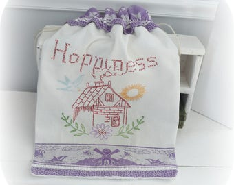 "Project Bag, Knitting Bag, Wedding or Shower Gift Bag, Storage Bag, made from Vintage Embroidered Linen, Large 23"" x 16"""