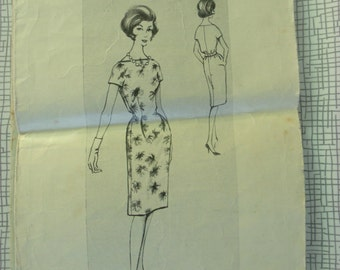 "1961 Dress - 36"" Bust - Woman's Weekly B 129 - Vintage Retro 1960s Sewing Pattern"
