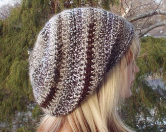 Brown Marble Slouchy Beanie, Womens Crochet Hat, Boho Slouchy Hat, Oversized Slouch Beanie, Hipster Hat, Slouch Hat, Baggy Beanie