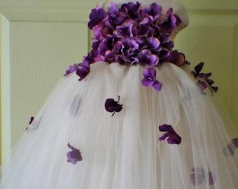 Flower Girl Dress, Tutu Dress, Photo Prop, in Champagne and Purple Hydrangeas, Flower Top, Tutu Dress