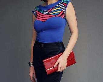 Blue Pop Art Boat Neck Top, Bright Stripe Print, Knit, Feminine Designer Blouse, Boat Neck, Fitted Body, Short Sleeve, Made in Australia.