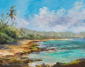 PAPAILOA BEACH Original 8x10 Palette Knife Oil Painting Art North Shore Oahu Tropical Ocean Island Haleiwa Hawaii Palm Tree Honu Turtle
