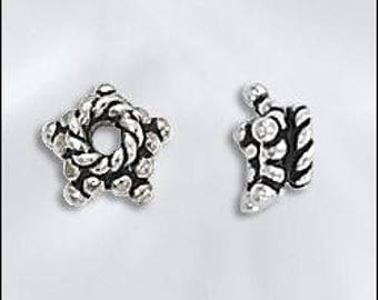 BEAD, CAP, Bali, Sterling, Silver, Spacer, Star, Flower, Antiqued, 2 or 10  Pieces