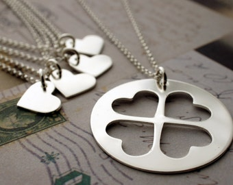 Mother Daughter Jewelry Set - Custom Cut Heart Necklace Set for FOUR Daughters - Mother's Jewelry in Sterling Silver by EWD