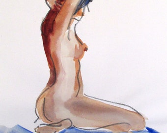 Nude painting- Original watercolor painting of Nude #1370 by Gretchen Kelly