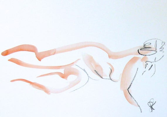 Nude painting of One minute pose 104.1 - Original nude painting by Gretchen Kelly