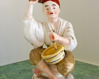 Napco Vintage  Figurine Man with Bowl Painted Ceramic Japan Statue Asian Oriental