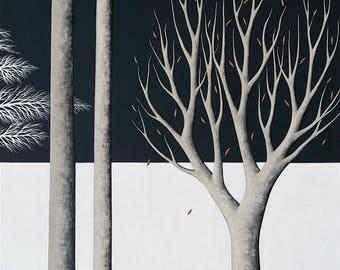 Midnight Walk 3 - Archival 8x10 Art Print - Contemporary Winter Landscape Painting - Horizontal Format - by Natasha Newton
