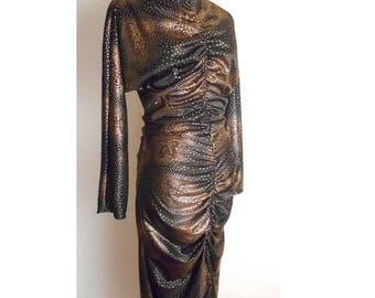 Vintage 80's Black and Metalic gold Cocktail BARE BACK dress Size XS - S