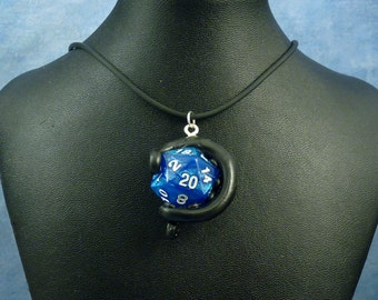 Black and Blue Sparkle Sanity Check Necklace - Tentacle Wrapped D20 Pendant