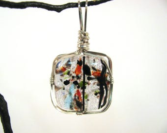 Wire Wrapped Dichroic Glass Sterling Silver Pendant RKS552