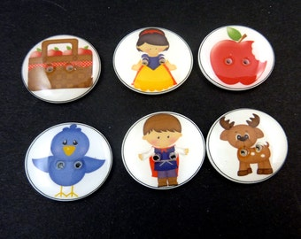 "6 Snow White Buttons. Children's Buttons.  Fairy Tale Buttons.   Crafting  3/4"" or 20 mm Round  Handmade By Me.  Washer and Dryer Safe."