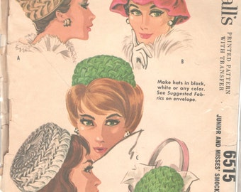 McCalls 6515 1960s Junior and Misses Chic Smocked Hats Pattern 4 Styles Womens Vintage Sewing Pattern Head Size 21 1/2 - 22 1 /2