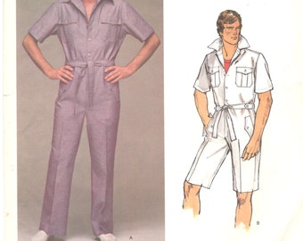 Vogue 1461 1970s Mens Button Zip Front Jumpsuit Pattern Designer Pattern Safari Style Bill BLASS Adult  Vintage Sewing Pattern Chest 40