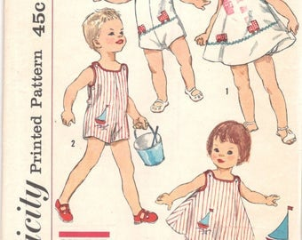 Simplicity 3497 1960s Simple to Make Toddlers Panties Dress and Sunsuit Pattern Boys and Girls Vintage Sewing Pattern Size 1/2 Breast 19 UC