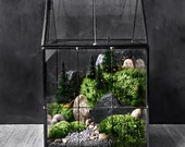 Greenhouse Moss Terrarium with Landscape Scene in Geometric House-shaped Vessel