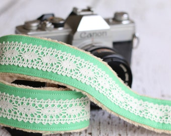 Linen Lace Camera Strap. Camera Strap. dSLR Camera Strap. Camera Neck Strap. Digital Camera Strap. Padded Camera Strap. Cute Camera Strap.