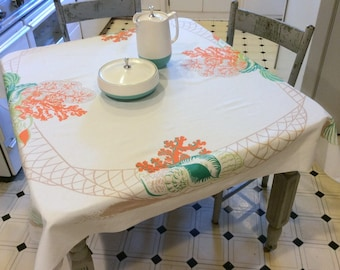 Vintage Tablecloth Seashells and Coral in Fishing Nets