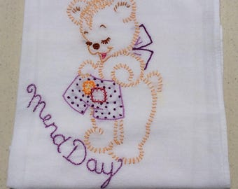 Vintage Embroidered Towel Bear Mends Some Shorts