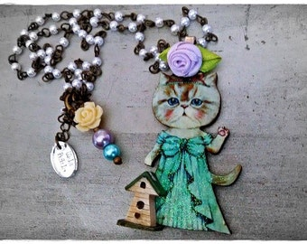 My FaiR KiTtY irresistible kitty cat necklace collection/ MoDeL #3 by WiLd PeArLy~*