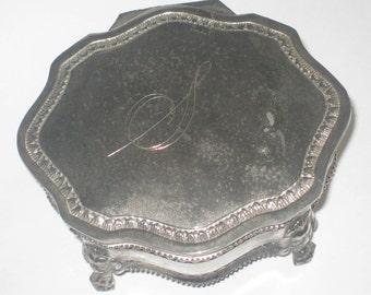 Silver Plate Footed Trinket Casket Jewelry Box Blue Velvet Lining Fabrique Vintage