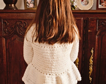 Crochet PATTERN - Flower Peplum Sweater (sizes baby up to 8 years)