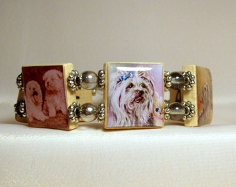MALTESE SCRABBLE Bracelet / Upcycled Handmade Jewelry / Dog Lover / Unusual Gifts