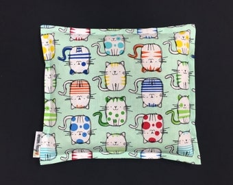 Corn Heating Pad, Corn Bag, Microwave Heating Pad, Heated Bag, Children's Corn Bag, Relaxation Gift, Ice Pack, Gift, Mint Cats