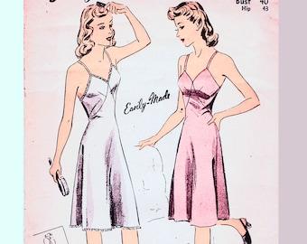 "1940s Slip Pattern Plus size Bust 40"" UNCUT Full Slip Pattern Vintage Slip 1940s Sewing Pattern 40s Womens Clothes"