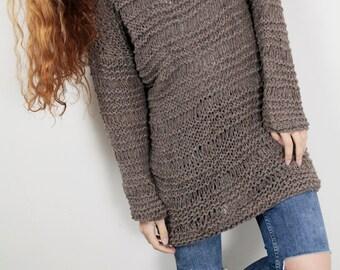 Hand knit sweater wool woman sweater long sweater Mocha loose knit pullover sweater