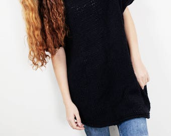 Hand Knit oversize sweater Long wool Drop shoulder sweater asymmetrical BLACK pullover