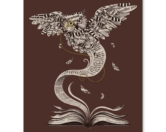 Flow of Wisdom / Paper Owl Print / Book Owl Print / Literature Artwork / Beautiful Print / Book Pages Print / Home Decor / 8 x 10