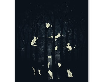 We Own the Night / Cat Print / Cat Forest Print / Cat Artwork / Beautiful Print / Cats in Trees Print / Home Decor / 8 x 10