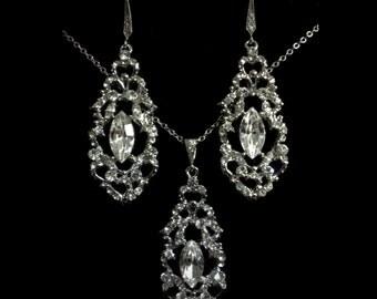 Bridal Jewelry Set, Art Deco Wedding Earrings, Swarovski Crystal Bridal Necklace, Silver Bridal Earrings, Gold Wedding Jewelry, VICTORIA