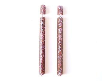 Handmade large long chandelier drop facet geometric statement dangle resin earrings in purple plum multi coloured glitter.