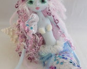 Pink & Blue Mermaid, soft sculpture art doll, handmade in the USA