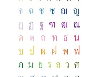Thai Alphabet Art Print - 8x10