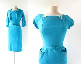 1950s Wiggle Dress | Aquatique | 50s Dress | XXS XS