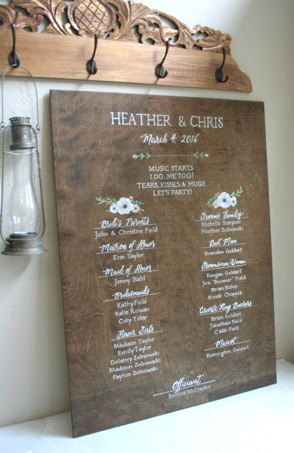 Hand painted Wedding Program/Reception Timeline- PLEASE read details. Calligraphy on Mirror, Chalkboard, Wood, Glass, Acrylic. Custom design