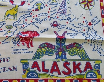 TCS003 ~ Alaska tablecloth Vintage table cloth Alaska souvenir 1950's