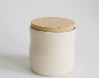 Corked Jar / Light Yellow Corked Jar / Lidded Jar / Loose Leaf Tea Jar / Corked Ceramic Jar with Natural Cork Lid