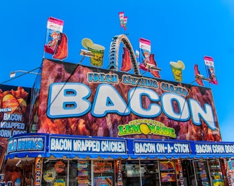 Fresh Sizzling Bacon Carnival Food Vendor Fine Art Print- Carnival Art, County Fair, Nursery Decor, Home Decor, Children, Baby, Kids