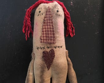 Primitive Folk Art Raggedy Ann Rag Doll