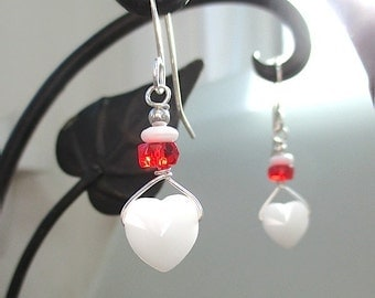 Romantic Heart Dangles, Red & White Valentine Earrings, Sterling Silver Jewelry, Swarovski Crystal, Red Beads, Valentines Day Gift for Women