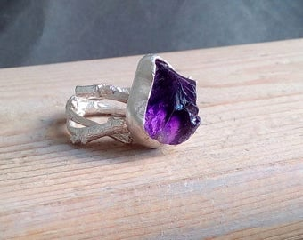 Raw Amethyst Sterling Silver Twig Ring. Rough raw amethyst sterling silver double twig ring. Elvish engagement ring