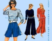 Simplicity 0039 Womens Pullover Top & Culottes Split Skirt Petite to Plus Size 8 10 12 14 16 18 20 Vintage Sampler Sewing Pattern Uncut FF