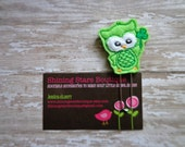 Embellished Felt Planner Clips - Lime Green And Emerald Green St. Patrick's Day Owl With A Shamrock Felt Paper Clip Or Bookmark - Accessory