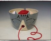 Grey Tabby Cat Yarn Bowl by misunrie